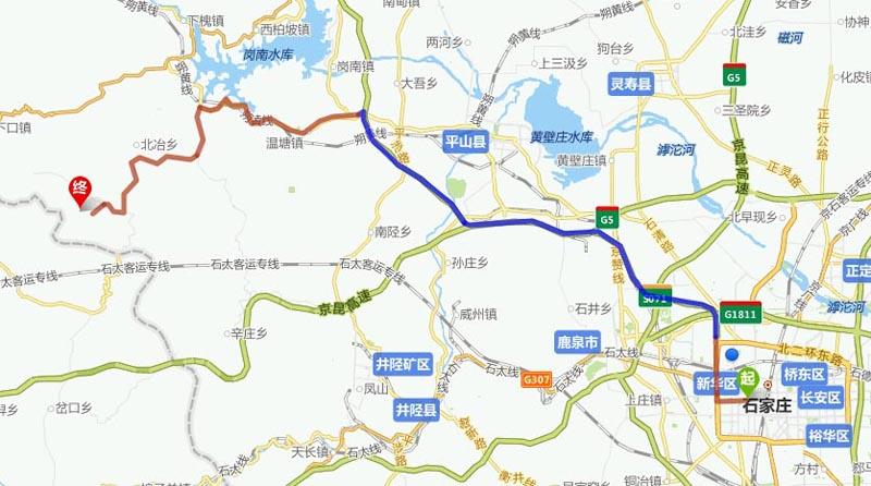自驾: 从石家庄出发到沕沕水风景区,沿路线:西柏坡高速——s301——x