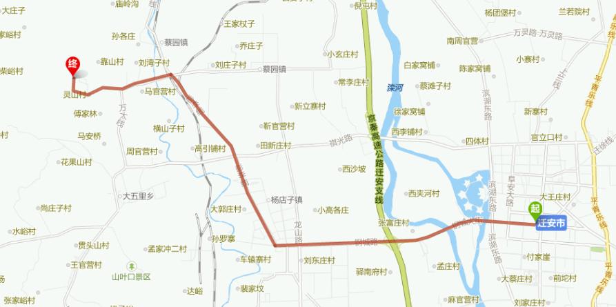 从迁安市到灵山风景区,沿路线:钢城大街——灵山风景区,全程20公里